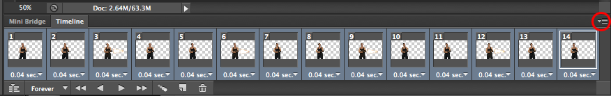 highlighted 14 frames in the animation timeline
